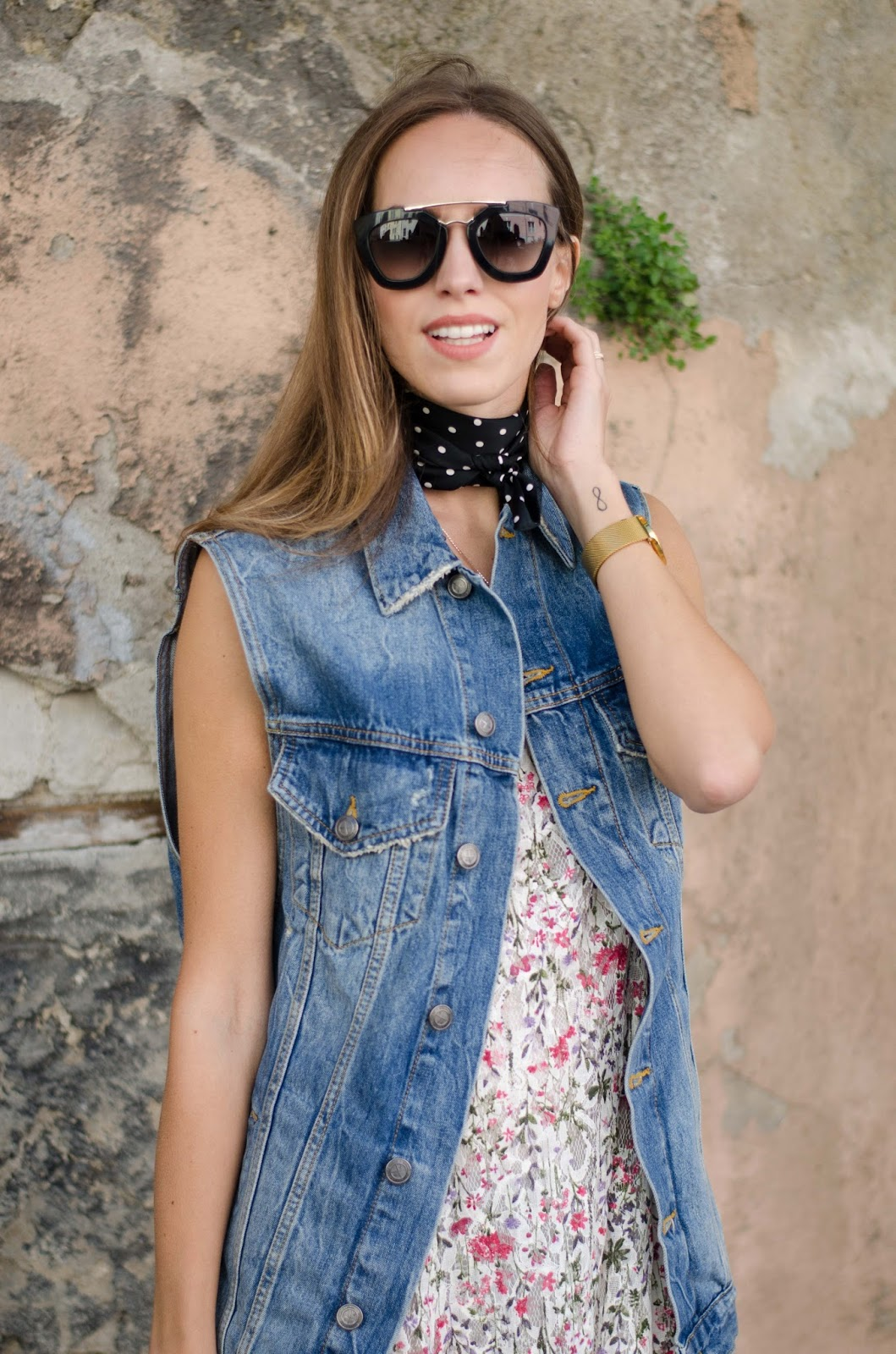 denim vest bandana neck scarf