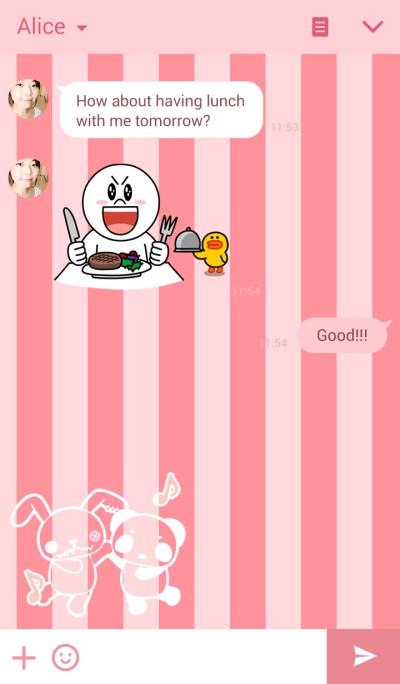 LINE Creators' Themes - pandAnd! pink