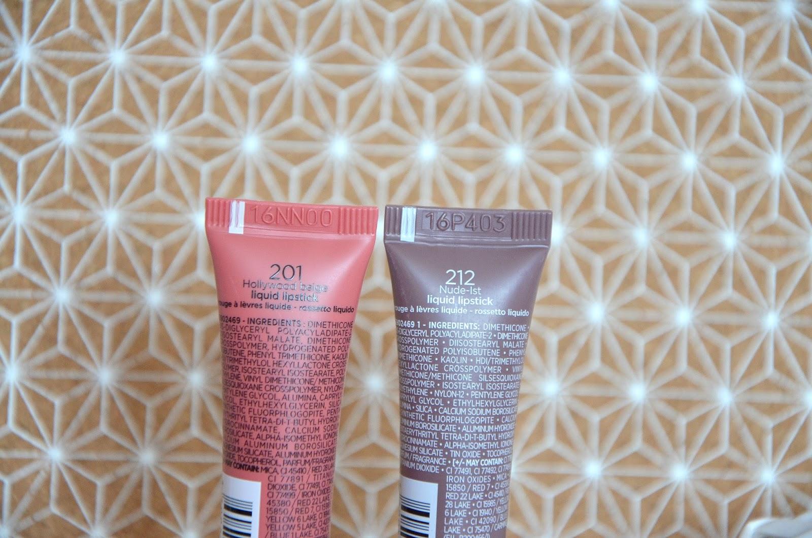 Rouges à lèvres infaillible lip paint matte 201 hollywood beige & 212 nude-ist L'Oréal Paris