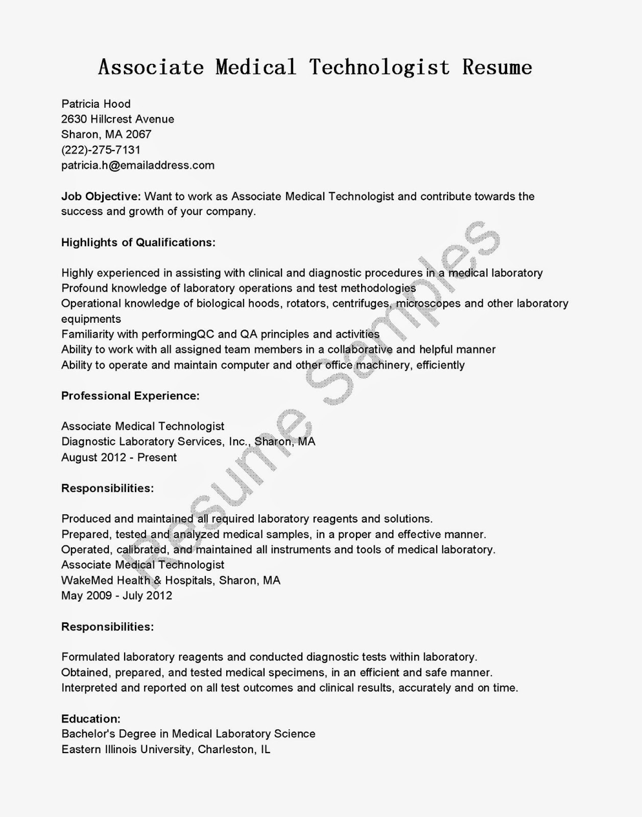 resume samples  associate medical technologist resume sample
