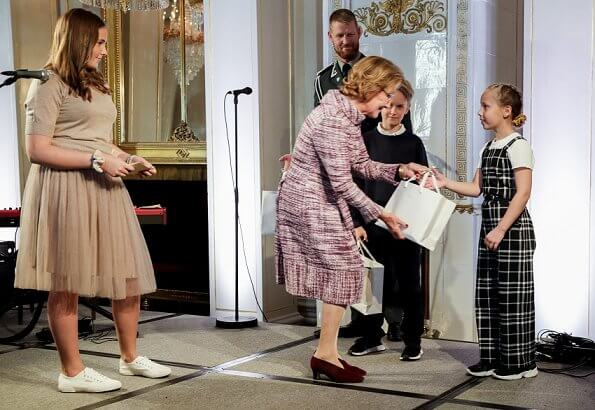 Princess Ingrid Alexandra wore Cathrine Hammel midi tulle skirt and Cathrine Hammel petit merino top. Queen Sonja