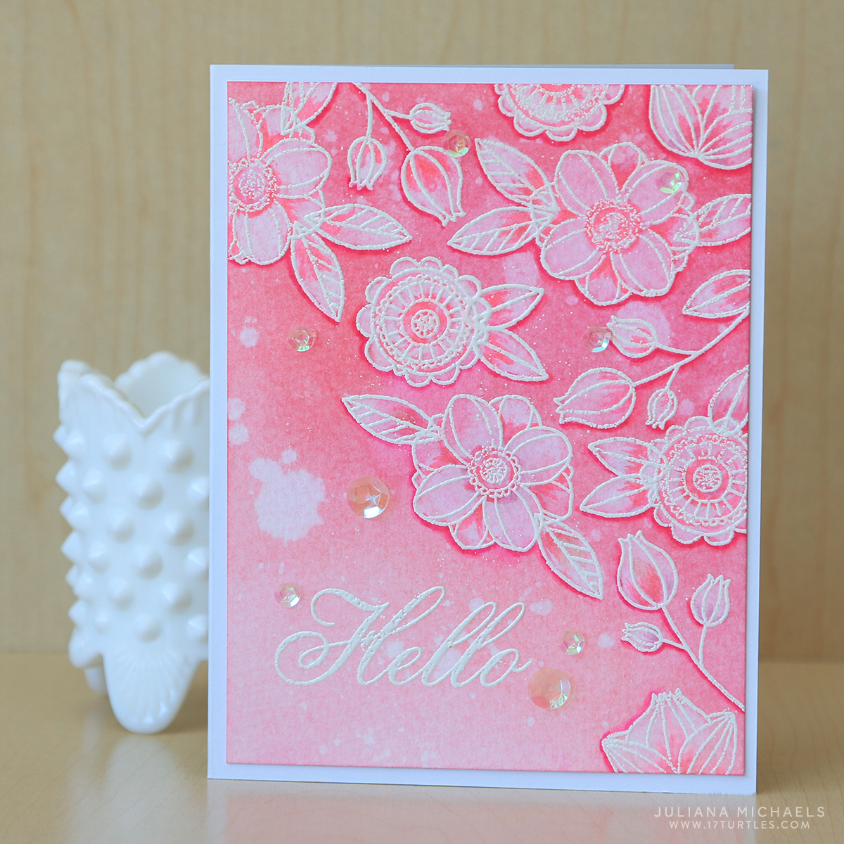 Hello Card With Watercolor Bleaching