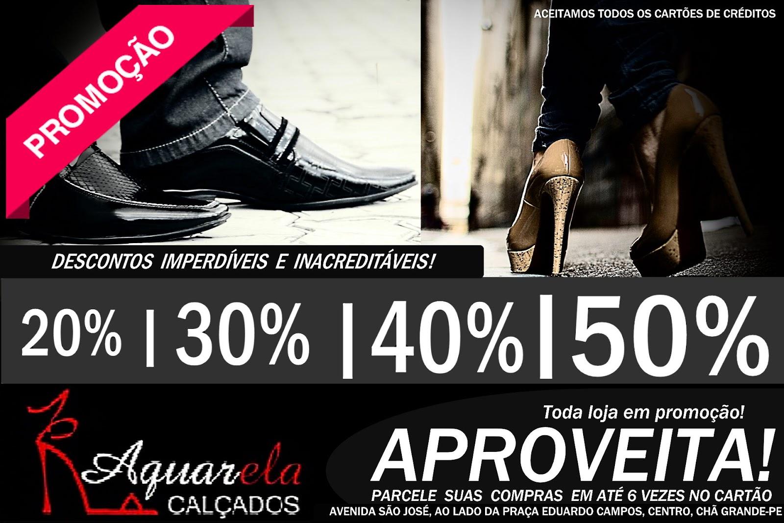 Chã Grande  Aquarela Calçados lança promoção com até 50% de desconto em  toda loja 63ce0291dc02e