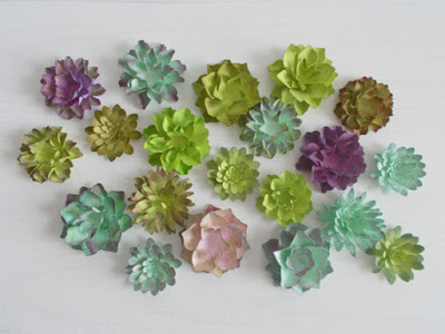 50 Succulent Favors Made from Plantable Seed Paper - Hand Inked Paper Succulents - Eco Friendly Wedding, Shower and Party Decor green lime turquoise purple lavender pink blue aqua teal