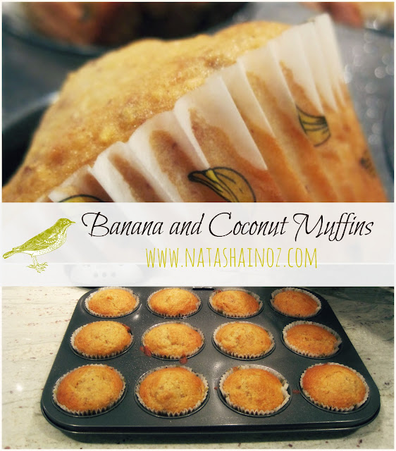 Banana & Coconut Muffin Recipe, Natasha in Oz, Banana Muffin image