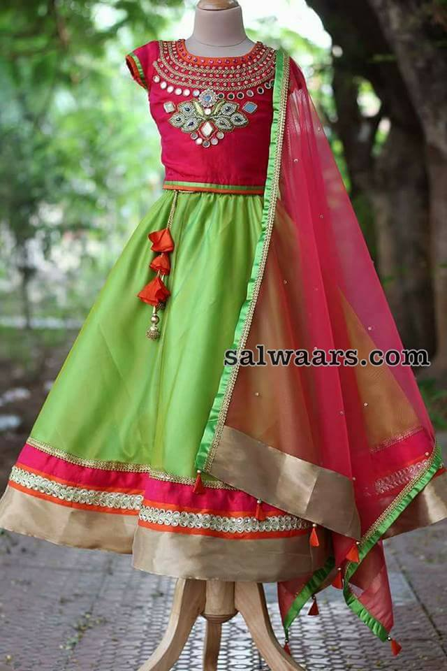 Green and Pink Mirror Lehenga