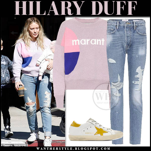 Hilary Duff wears pink isabel marant korbin sweater and distressed frame jeans for a day out with her family february 2019