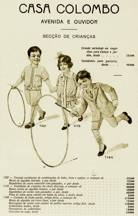 Propaganda da Casa Colombo promovendo a linha infantil em anúncio veiculado em 1918