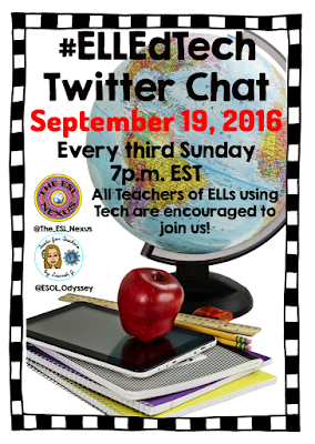 Join the net #ELLEdTech Twitter chat to discuss teaching reading to ELLs; Sunday, Sept. 19, 2016 | The ESL Connection