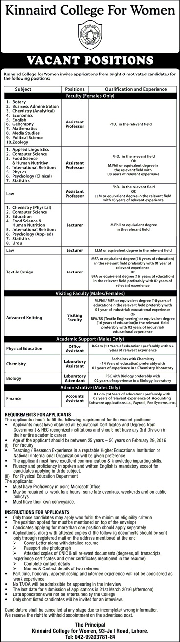Female Teaching Faculty and Admin, Accounts Jobs in Kinnaird College For Women Lahore