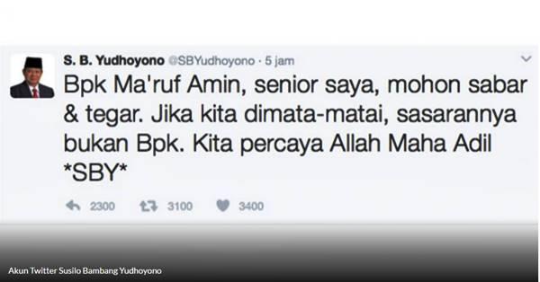 Diancam Ahok, SBY Minta KH Ma'ruf Amin Bersabar