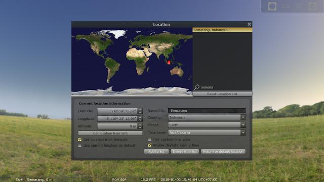 Simulasi perhitungan gerhana stellarium