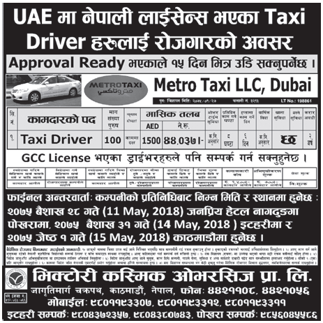 Jobs in UAE for Nepali, Salary Rs 44,037