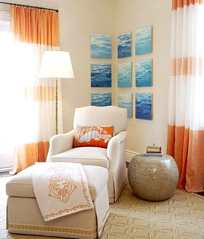 ocean art gallery wall sitting nook