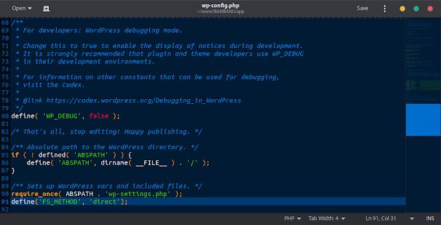 wp-config.php setelah di ubah