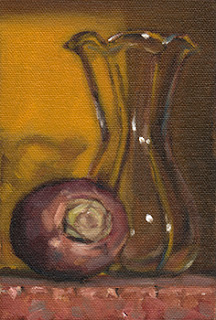 Still life oil painting of a turnip beside a tulip-shaped glass vase.