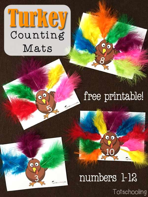 Free printable counting cards with featherless turkeys. Place the correct amount of feathers on each turkey. Great for preschool number recognition and one to one correspondence.