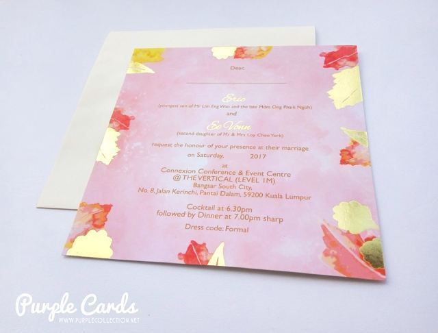 watercolour, wedding card, invitation, invites, art card, printing, malaysia, kl, kuala lumpur, tie the knot, save the date, leaf, leaves, gold stamping foil, silver, connexion conference & event centre, map, online order, express, 婚礼邀请卡, chinese wedding card, peonies, peony, sample, portfolio, mock up, express, designer, design, custom, bespoke, elegant, unique, special