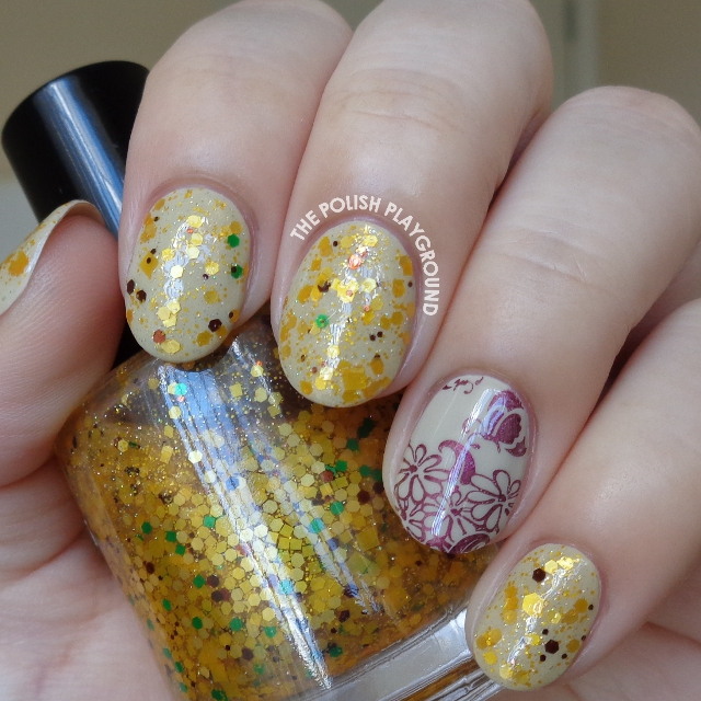 The Polish Playground Neutral Base And Yellow Glitter Combination