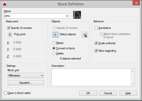 tutorial membuat blok di autocad