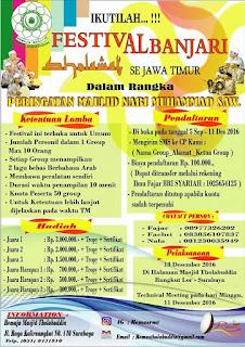 Festival Al Bnajari Se Jawa Timur (Dalam Rangka Peringatan Maulid Nabi) Tahun 2016