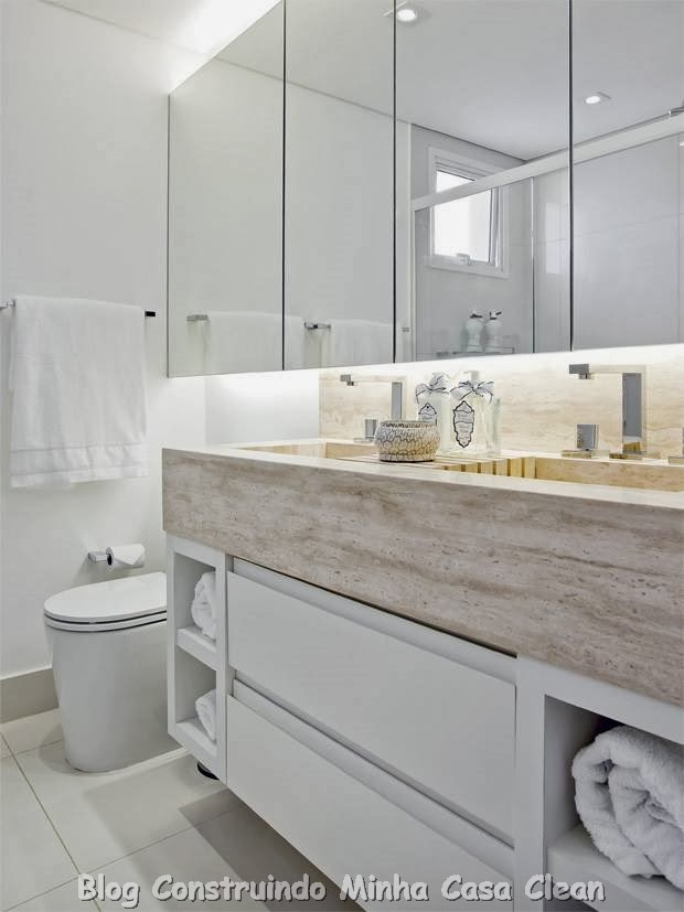 Construindo Minha Casa Clean 30 Dicas de Banheiros e Lavabos Decorados e Mod -> Gabinete De Banheiro Travertino