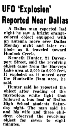 UFO Explosion Reported Near Dallas - Wilkes-Barre Times Leader 6-28-1967