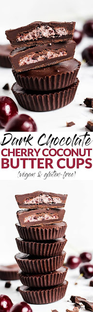 Dark Chocolate Cherry Coconut Butter Cups (Vegan & Gluten-Free)
