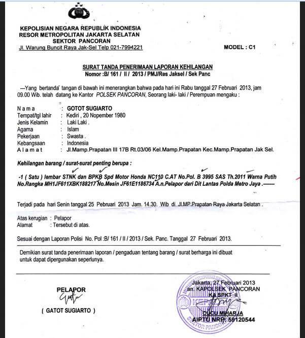 Contoh Surat Pernyataan Kehilangan STNK, SIM, BPKB