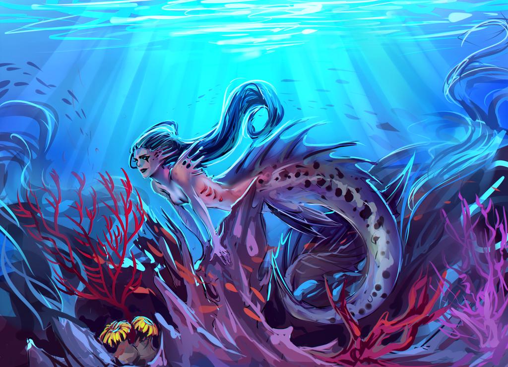 Sketched Girl Wallpaper Art Admiration Mermaids Part Ii