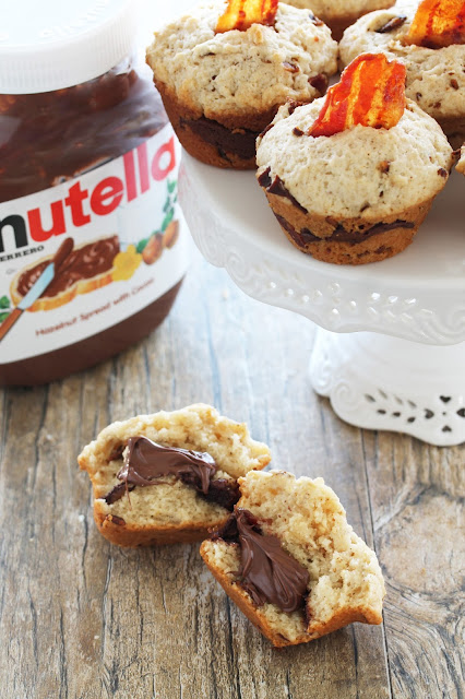 Bacon flavored muffins, with a creamy Nutella center. You can't go wrong combining bacon and Nutella!