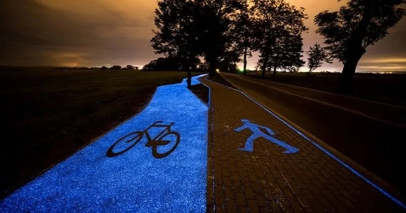 Poland Introduces An Eco-Friendly, Solar-Powered Bicycle Lane That Glows In The Dark