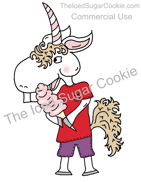 Unicorn Eating Cotton candy Clipart Illustration Drawing by The Iced Sugar Cookie Buy Now