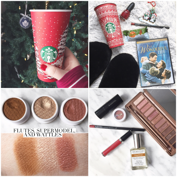 bbloggers, bbloggersca, canadian beauty bloggers, instamonth, starbucks red cup, christmas essentails, red nails, nyx lip liner, colourpop cosmetics, flutes shadow, wattles, supermodel shadow, demeter gingerbread, arbonne canada, naked 3 palette
