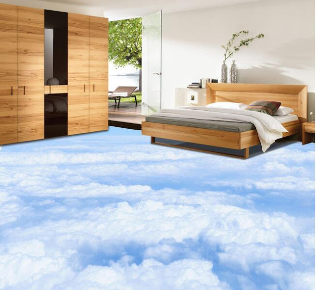 bedroom design with 3D tile flooring for above the sky pattern