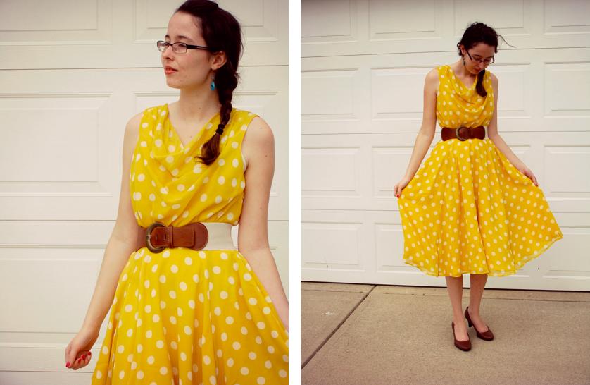 149c94c07319b What I'm Wearing: Yellow Polka-Dot Dress c/o eShakti // Belt Forever 21 //  Pumps Target // Ring Stella Dot // Earrings Hand-me-down from Mrs. Amber  Apple