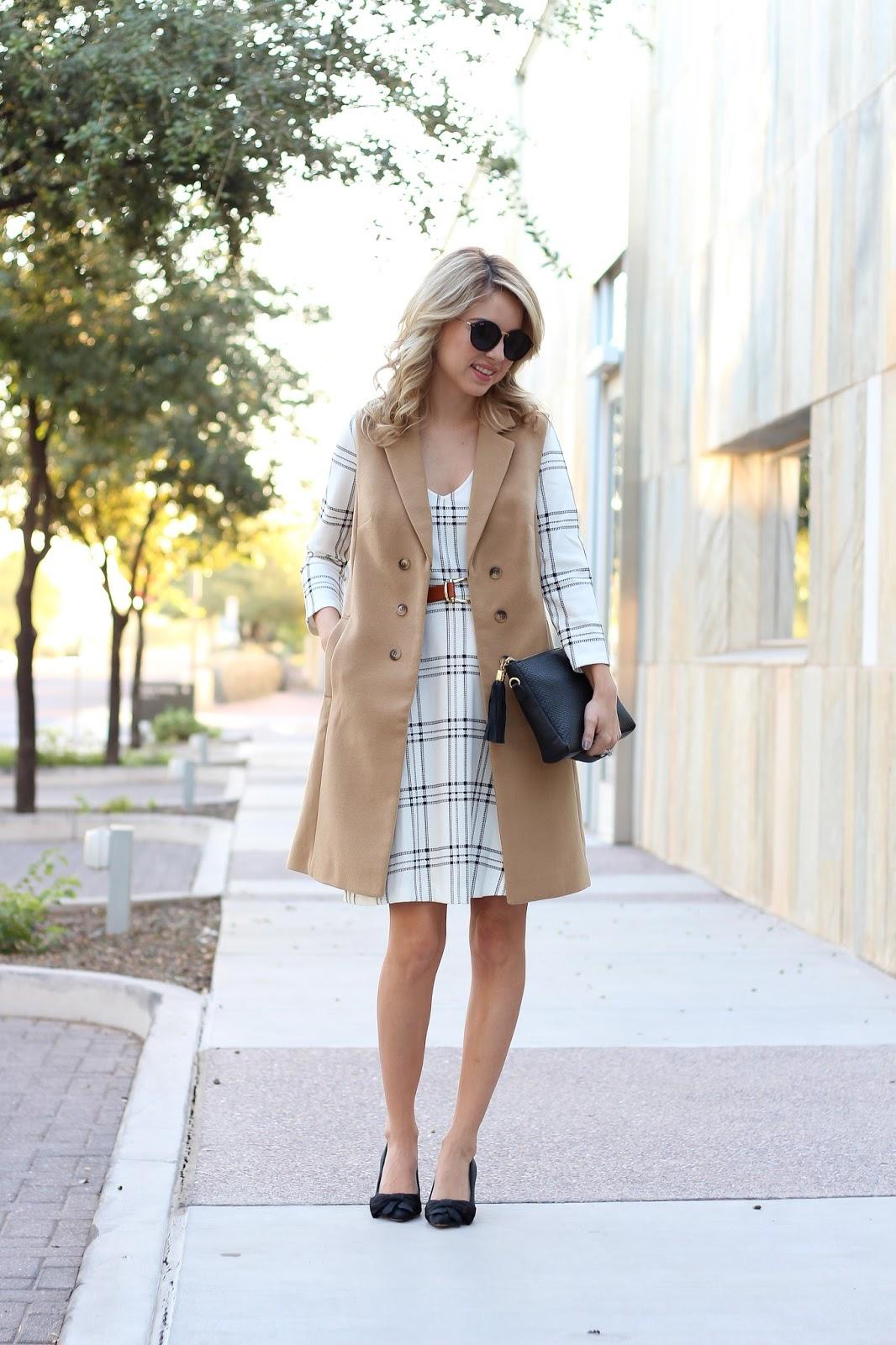 sleeveless trench - long vest - plaid dress - bow heels - black clutch