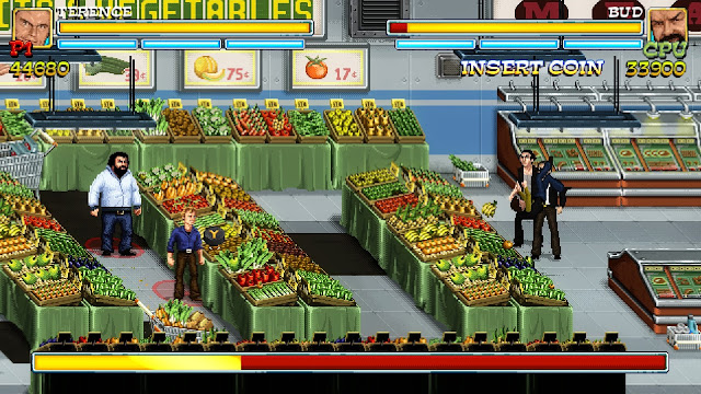 Bud Spencer & Terence Hill - Slaps and Beans -  Bud and Terence are standing in front of a vegetables and fruits aisle, ready to throw some bananas to their enemies!
