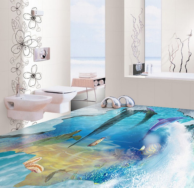 self-leveling 3d bathroom floor designs with deep sea theme