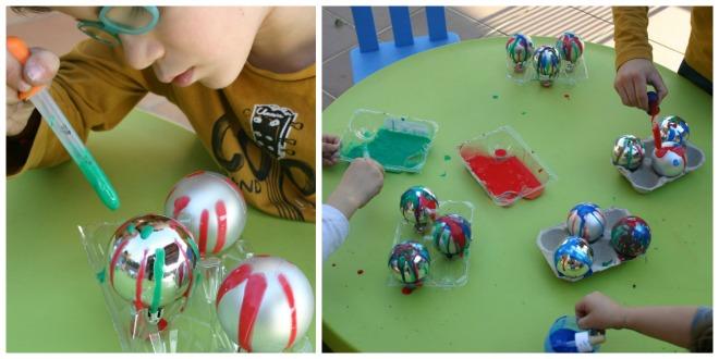 juegos y manualidades infantiles navidad motricidad fina: pintar cuentagotas