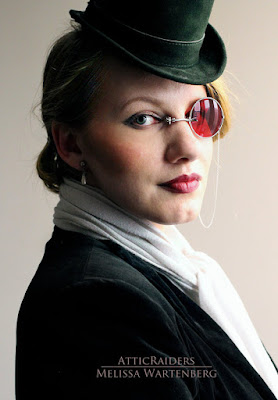 steampunk monocles for one eye that stay pinched on the nose, no strap needed. steampunk glasses, eyeglasses, sunglasses and monogoggles for cosplay and costumes