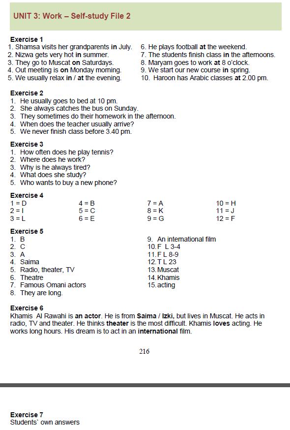 Workbook Units 1-4 Answer Key | Irvin's Class 2017-2018 Term 1