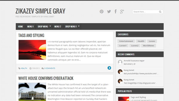 Downloads Zikazev Simple Gray Responsive Templates