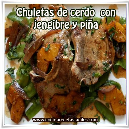 Recetas de carnes , receta de chuletas de cerdo , jengibre , piña
