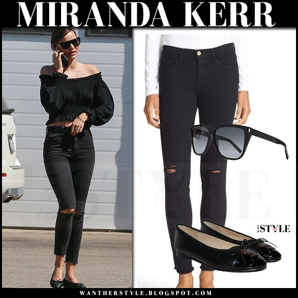 Miranda Kerr in black off shoulder top, black frame denim raw edge jeans and black ballet flats chanel what she wore model style