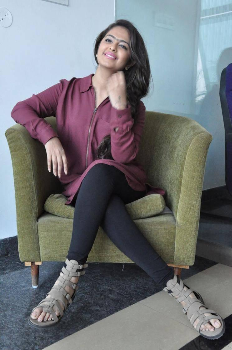 Avika Gor Hot Stills In Maroon Color Dress