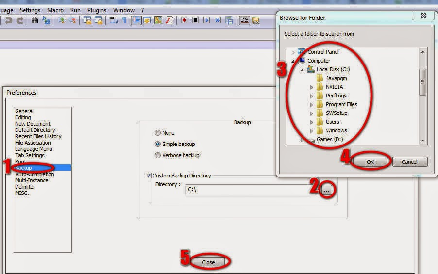 Set backup location for notepad++