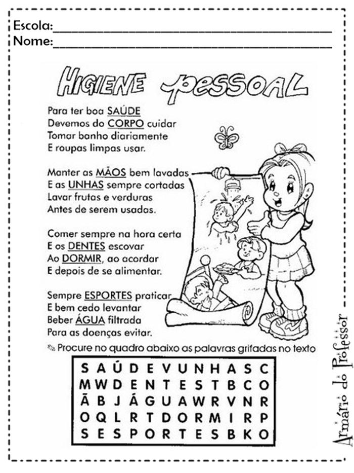 Populares Plano de aula: Higiene | Armário do Professor XA75