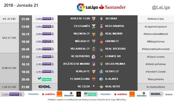 Liga Santander 2017/2018, horarios confirmados de la jornada 21