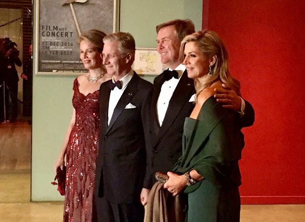 Queen Maxima wore Dries Van Noten dress, Queen Mathilde wore Jan Taminiau Gown, Diamond earrings, diamond tiara, style royal family